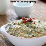 Rainbow Chard and Peas in Creamy gravy. Chard /Methi Matar Malai Vegan. Dairy-free creamy greens & peas w/ indian spices, somewhat like spinach dip. Gluten-free Soy-free Recipe #glutenfree #veganricha #vegan