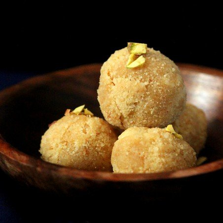 Coconut Rava Ladoo and Burfi. Vegan Gluten-free Indian dessert balls and bars flavored with cardamom. Dairy-free Recipe