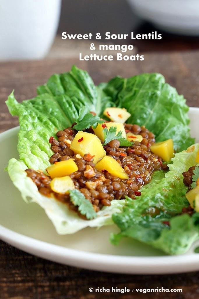 Vegan Sweet & Sour Lentils and Mango Lettuce Wraps
