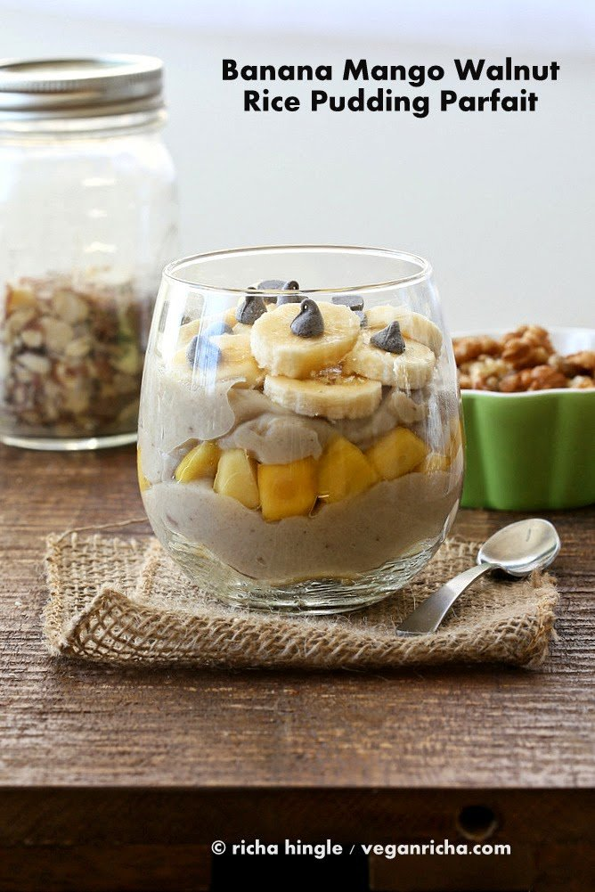 Brown Rice Pudding with Banana, Walnuts and Mango | Vegan Richa
