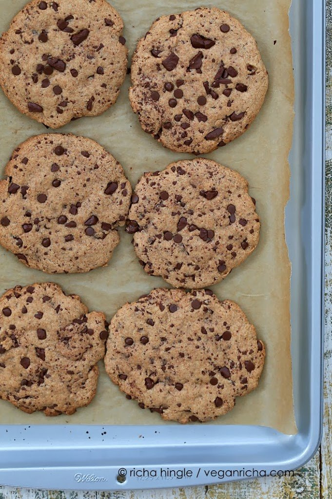 Giant Vegan Chocolate Chip Cookie | http://veganricha.com #vegan #cookie #chocolatechip