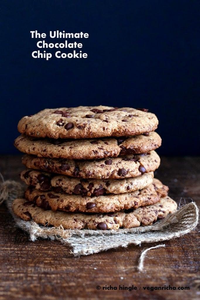 Giant Vegan Chocolate Chip Cookie | https://veganricha.com #vegan #cookie #chocolatechip