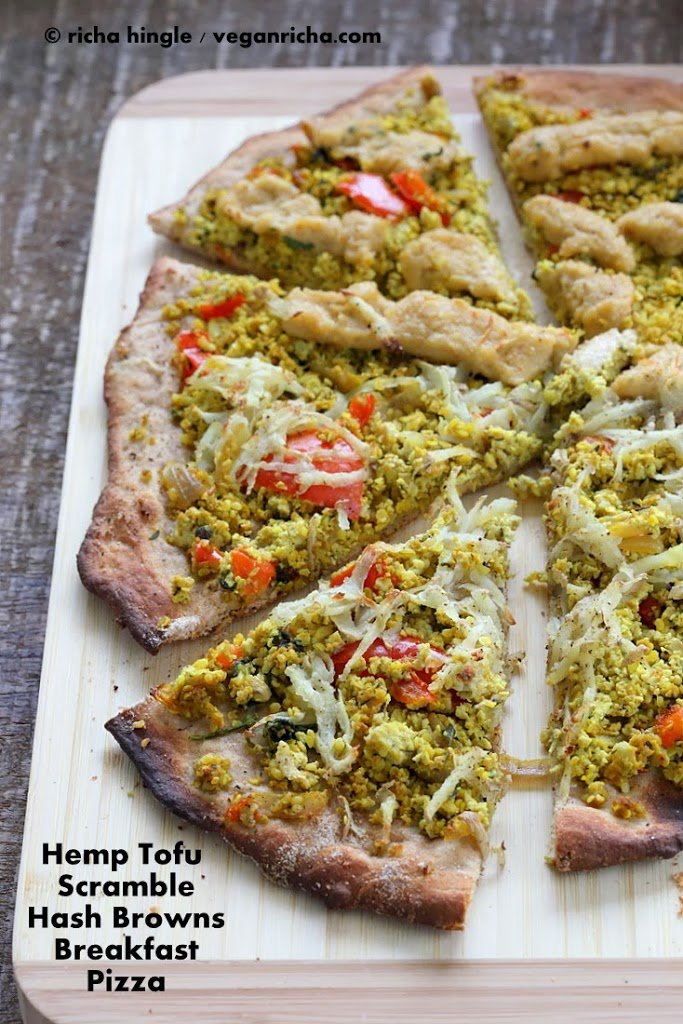 Hemp Tofu Scramble Breakfast Pizza topped with Hash Browns | Vegan Richa