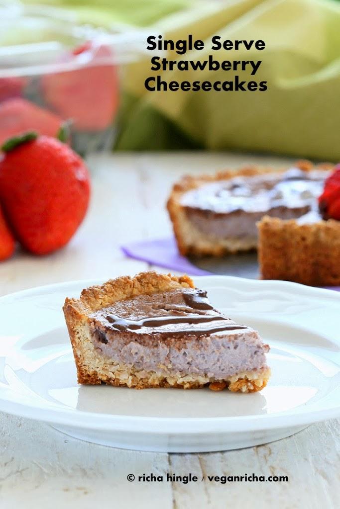 Vegan Strawberry Cheesecake Tarts for two. Gluten-free Recipe | Vegan Richa