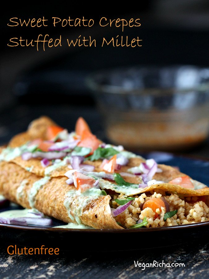 Smoky Millet Stuffed Sweet Potato Crepes with Jalapeno Aioli | Vegan Richa