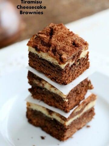 These Tiramisu Cheesecake Brownies are 3 desserts in one. always a hit! Free of dairy, egg, gluten, yeast, nut. #glutenfree #veganricha #vegan