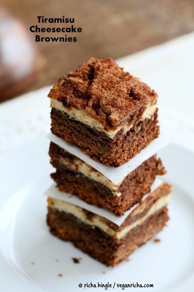 Tiramisu Cheesecake Brownies | Vegan Richa