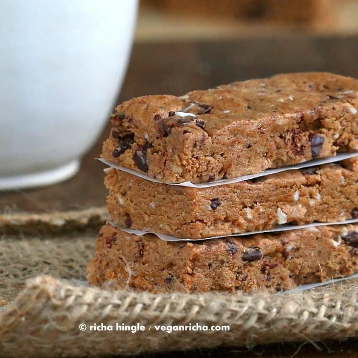 No Bake Almond butter chocolate chip protein bars  Vegan Richa