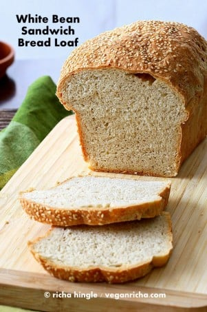 White Bean Sandwich Bread Loaf. Vegan Recipe