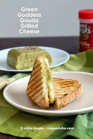 Green Goddess Gouda Vegan Cheese and Grilled Cheese Sandwich! smoky smooth herbed gouda! Dairy-free soy-free recipe #vegan #glutenfree #veganricha