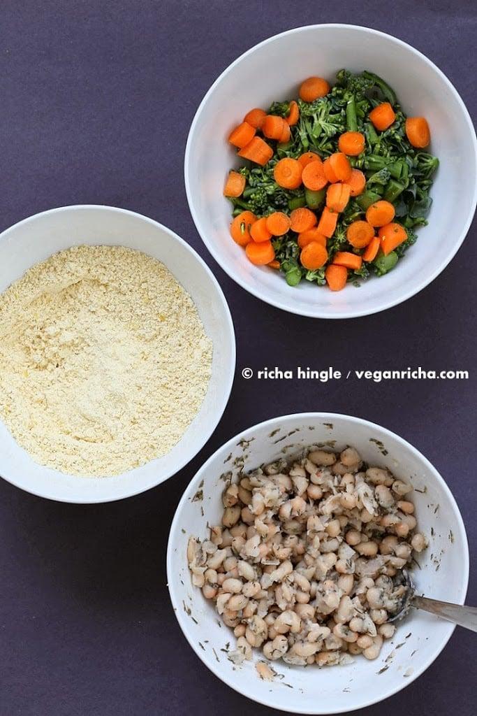 Broccolini White Bean Frittata. How to make Gluten free Soy free Vegan Frittata with Chickpea flour, beans, veggies. No Tofu   VeganRicha.com