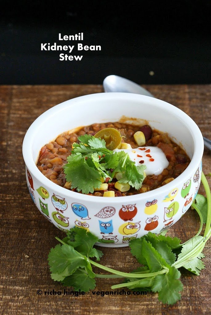 Vegan Lentil Kidney Bean Chili | Vegan Richa