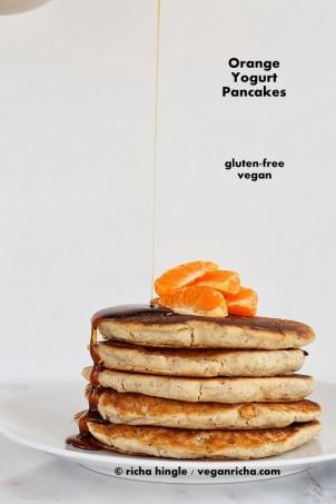 Gluten-free Orange Yogurt Pancakes and Multigrain Pancake Mix. Vegan Gum-free Recipe