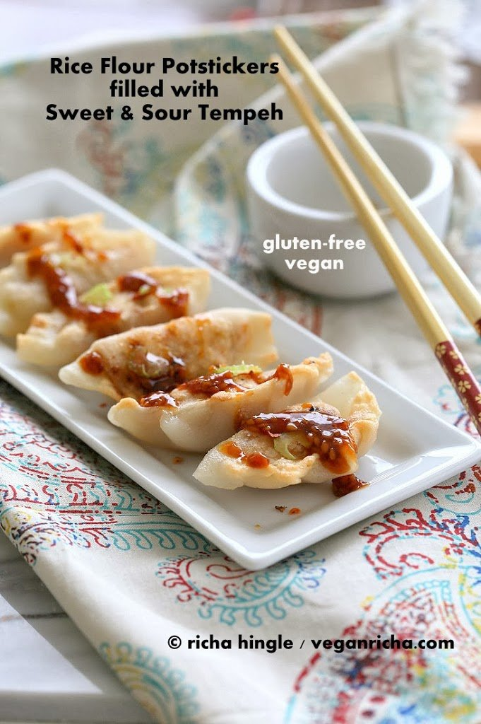Gluten free Potstickers filled with Sweet & Sour Tempeh and Celery | Vegan Richa
