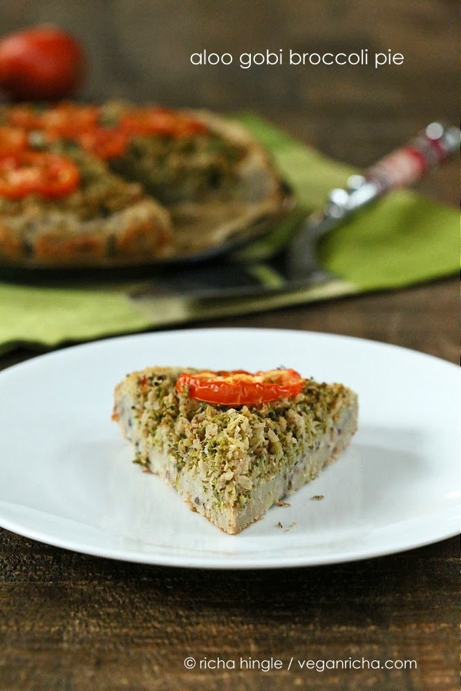 Cauliflower Broccoli Masala Pie with Black eyed Pea Potato Crust | VeganRicha.com #vegan #glutenfree #grainfree