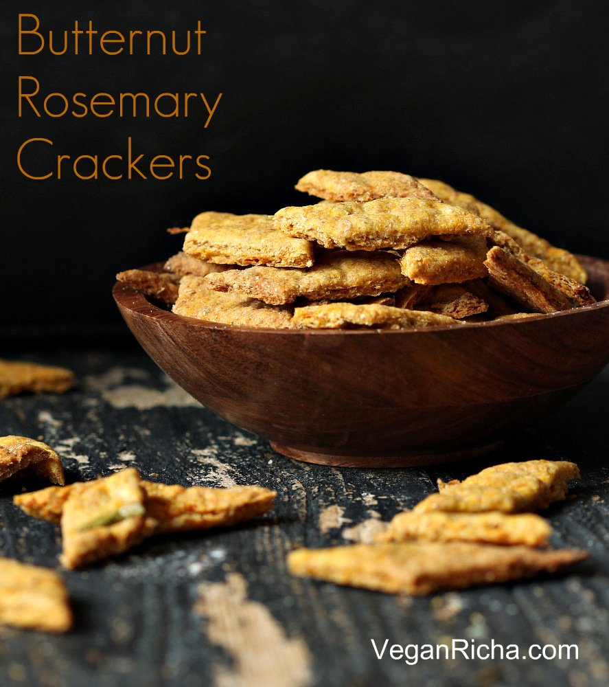 Butternut Squash Rosemary Onion Crackers | Vegan Richa