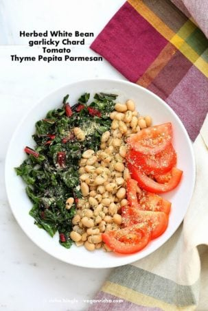 Herbed White Bean Rainbow Chard Thyme Pepita Parmesan Bowl. Vegan Recipe