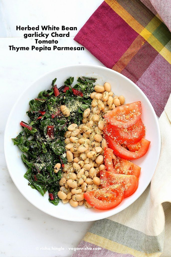 Herbed white bean chard bowl with Pepita Parmesan