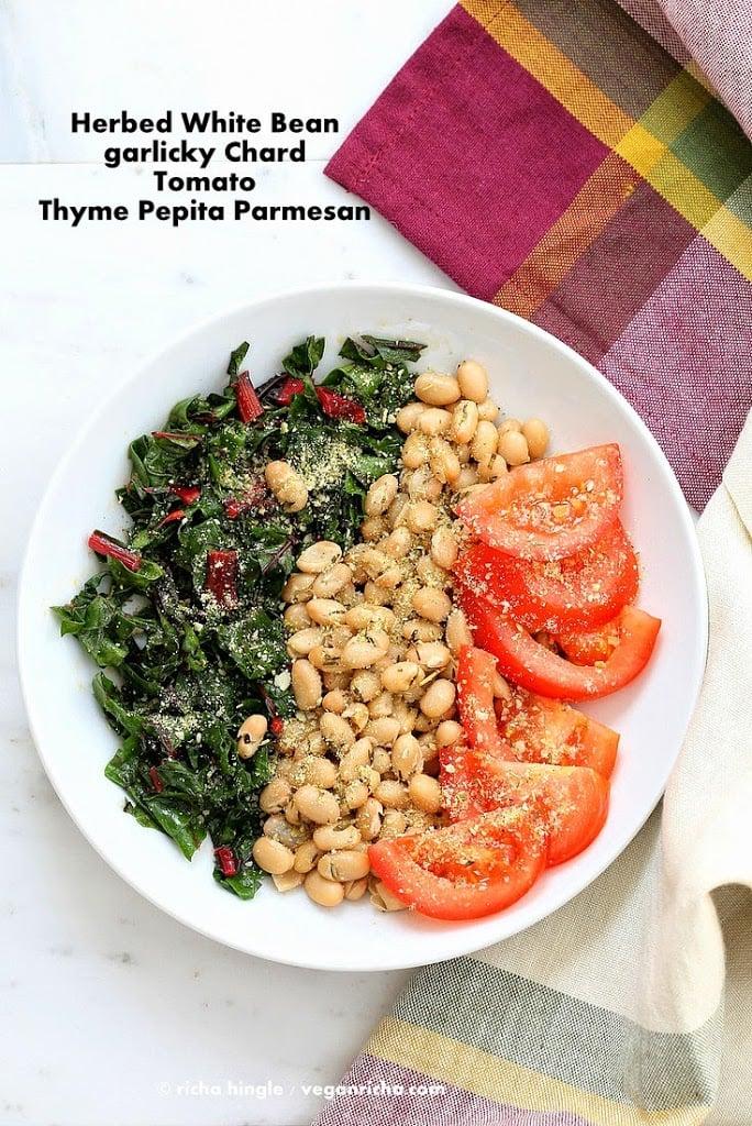 Herbed white bean chard bowl with Pepita Parmesan