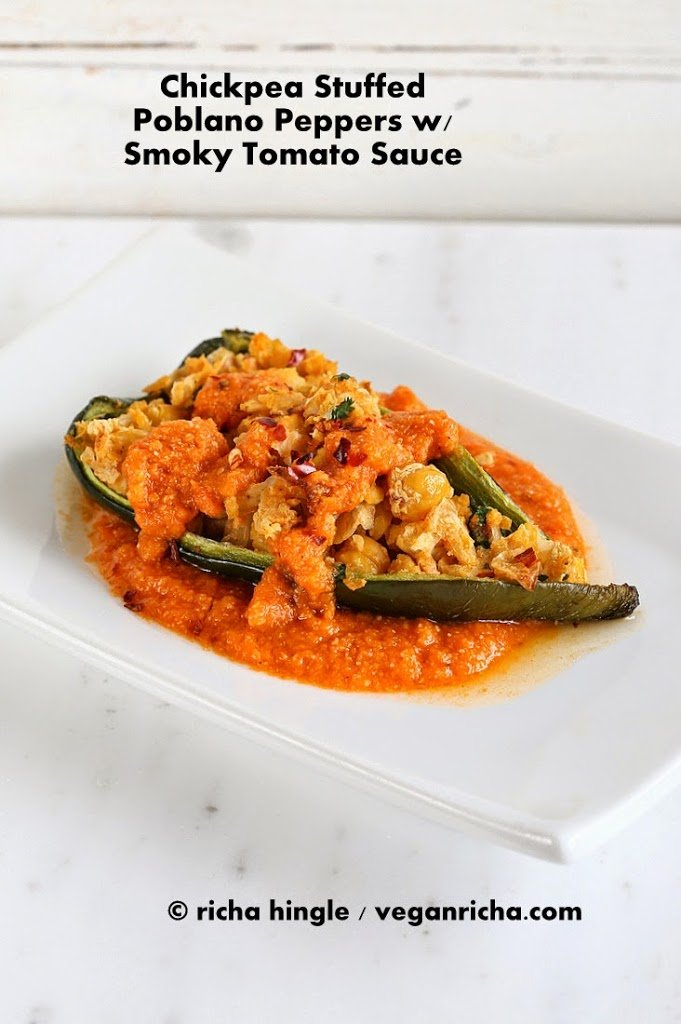 Chickpea Stuffed Poblano Peppers with Smoky Tomato Sauce | Vegan Richa