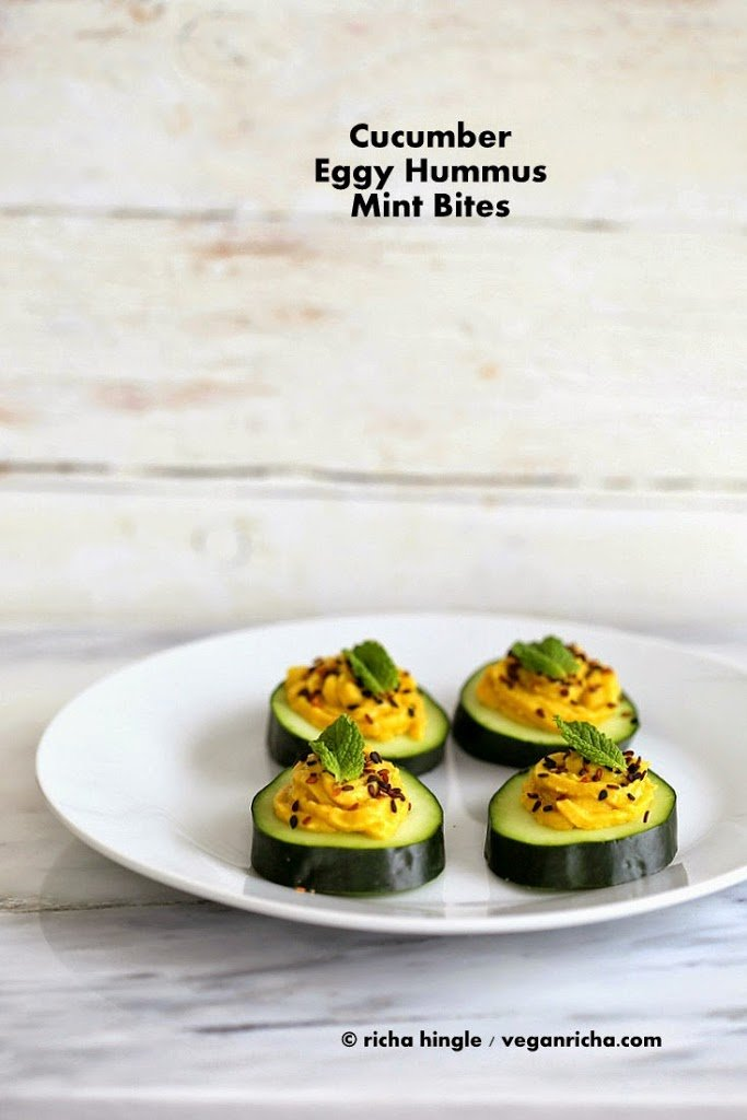 Cucumber Eggy Hummus Sesame Seed Mint Appetizer Bites.