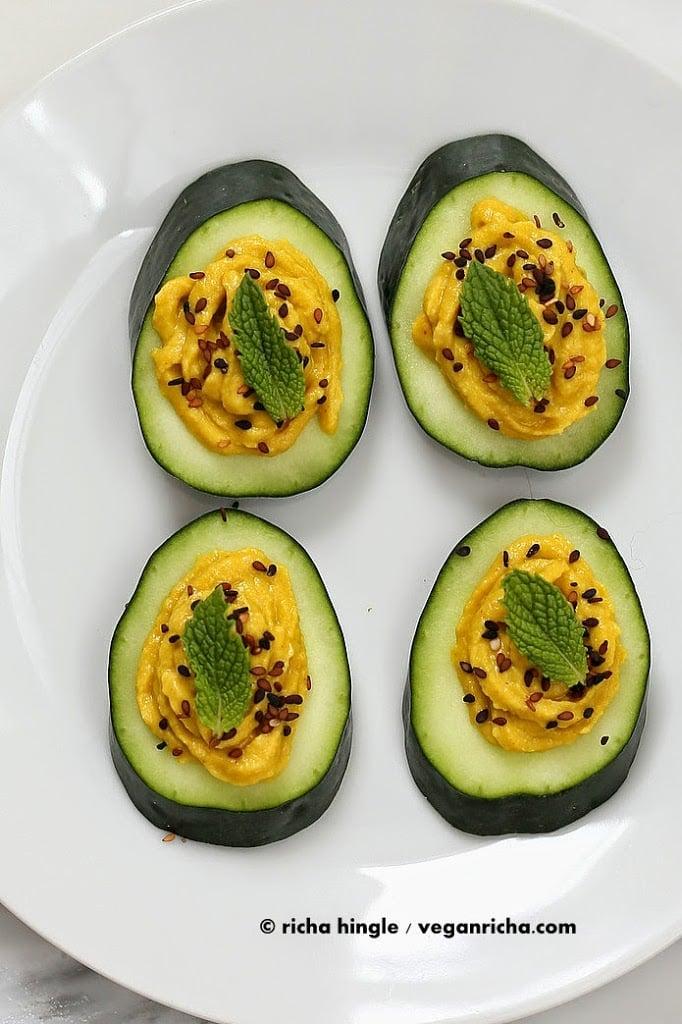 Cucumber Hummus Sesame Seed Mint Appetizer Bites Vegan
