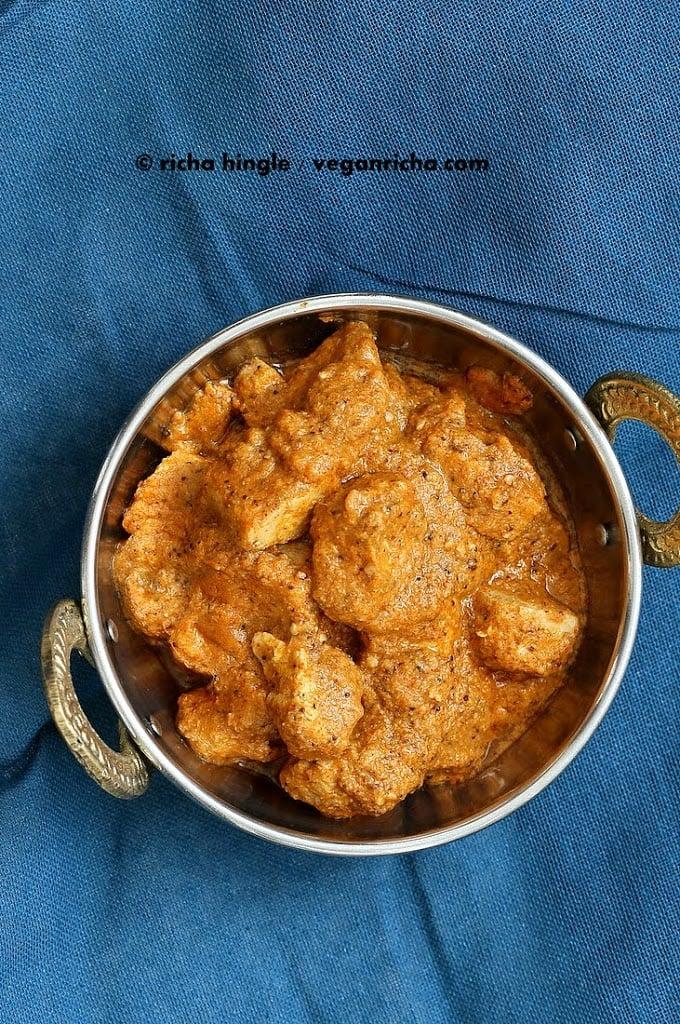 Hemp-Tofu in Rich Creamy Pasanda sauce. Vegan Paneer Pasanda. Glutenfree Soyfree Recipe | VeganRicha.com