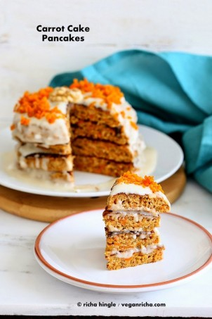 Vegan Carrot Cake Pancakes with roasted carrots and walnuts & loads of spice. Layered with a vegan yogurt coconut cream dressing. breakfast. gluten-free option.  #vegan #glutenfree #veganricha