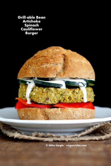 These Grill-able Aritchoke Spinach burgers are easy and great for summer. Use any favorite dressings or toppings. #vegan #glutenfree #veganricha
