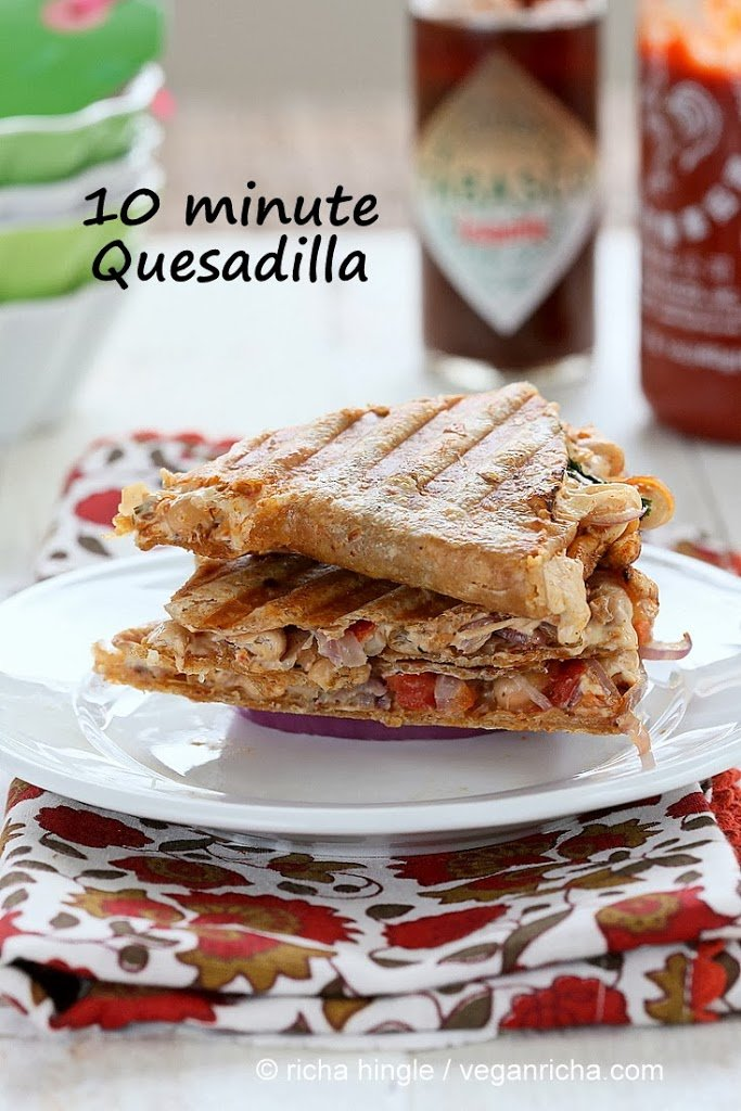 Vegan Taco Spice White Bean Pepper jack Quesadilla