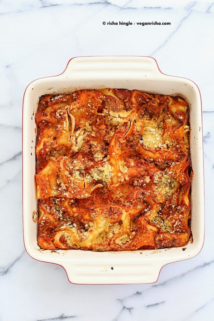 Cauliflower Alfredoa Lasagna   Vegan Richa