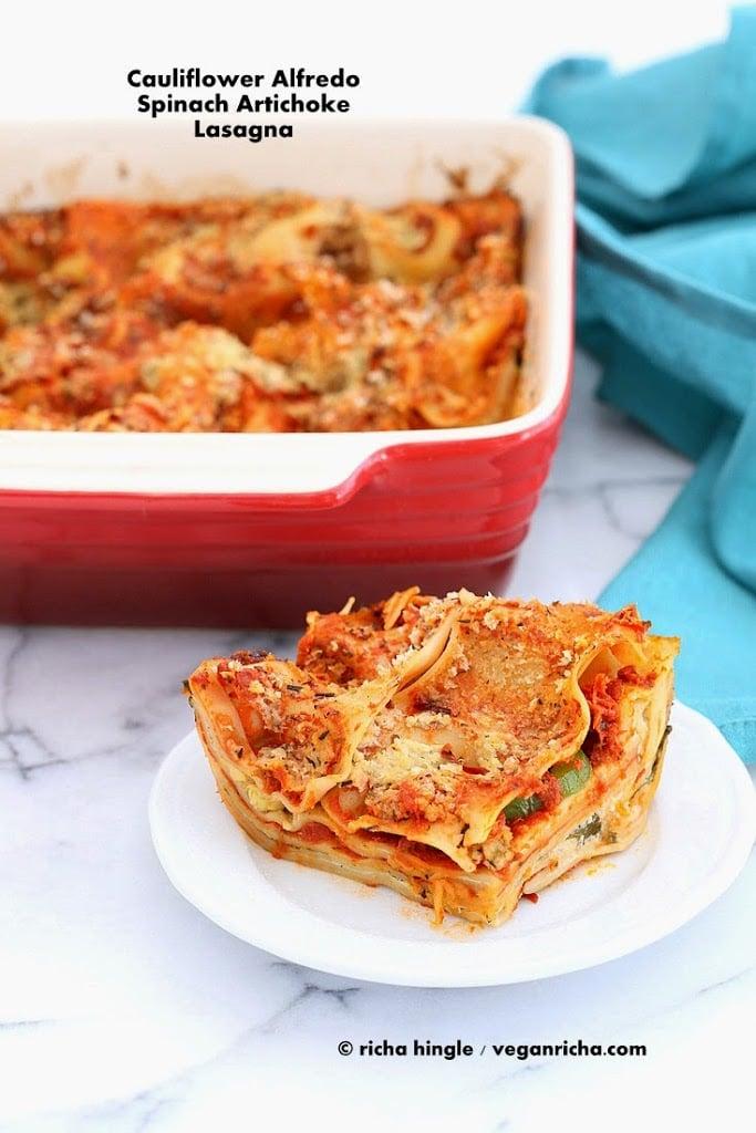 Cauliflower Alfredo Spinach Artichoke Lasagna   Vegan Richa