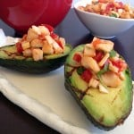 Cadry's Grilled Avocados stuffed with Smoky Hearts of Palm Salsa. Vegan Glutenfree Recipe