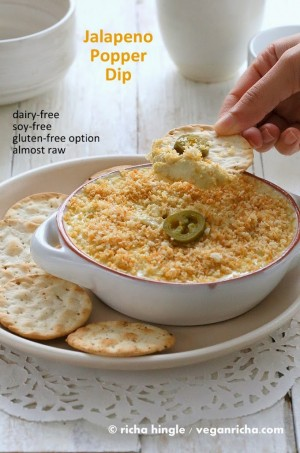 Vegan Jalapeno Popper Dip and Havarti Dip - glutenfree. Creamy Cheesy Jalapeno Queso like dip. Cashews, white beans, jalapenos and spices. Perfect for potlucks Vegan Recipe.#glutenfree #veganricha #vegan