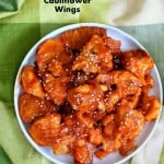 These Baked Mango Sriracha Cauliflower Wings are insanely delicious and easy. Make a triple batch for game Day! Vegan Soy-free