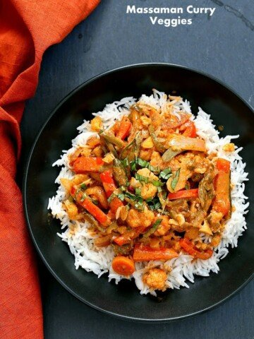 Massaman Curry Vegetables withfrom scratch Massaman curry sauce that has peanut butter, coconut milk, Thai Malay Spices and amazing flavor. Make this 30 minute vegan massaman curry. Vegan Gluten-free Soy-free Recipe. No Tofu! #glutenfree #veganricha #vegan