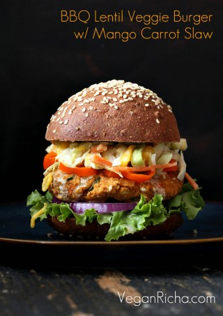 BBQ Lentil Veggie Burger with Mango Carrot Slaw and barbecue sauce. Serve as burgers or over a crisp salad. Easy lentil veggie burger. Vegan Recipe. Can be gluten-free, soy-free