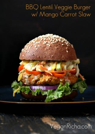BBQ Lentil Veggie Burger with Mango Carrot Slaw. Vegan Recipe