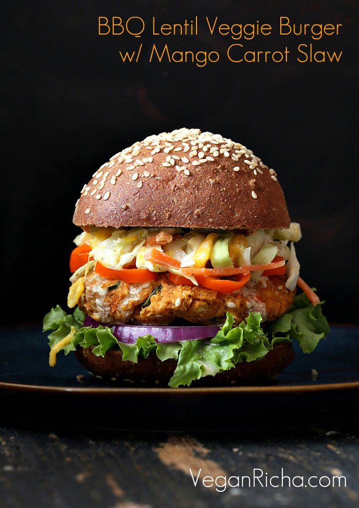 BBQ Lentil Veggie Burger with Mango Carrot Slaw and 35 Vegan Veggie Burger Recipes | VeganRicha.com