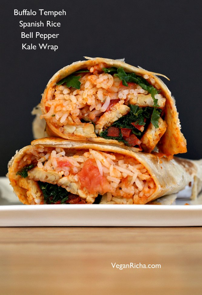 These Vegan Buffalo Tempeh Wrap s are paired with spanish rice, peppers and kale | VeganRicha.com