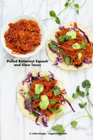 These Pulled Butternut Squash Tacos have shredded Squash cooked in traditional Chipotle Sauce and served with crunchy slaw. Free of Dairy, egg, nut, soy, gluten, #vegan #glutenfree #veganricha