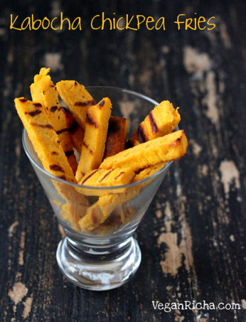 Chickpea kabocha fries. Chickpea flour fries made with a batter of chickpea flour and roasted squash + spices. Baked, fried or grilled fries! Gluten-free Vegan Recipe. Makes 14-18 fries