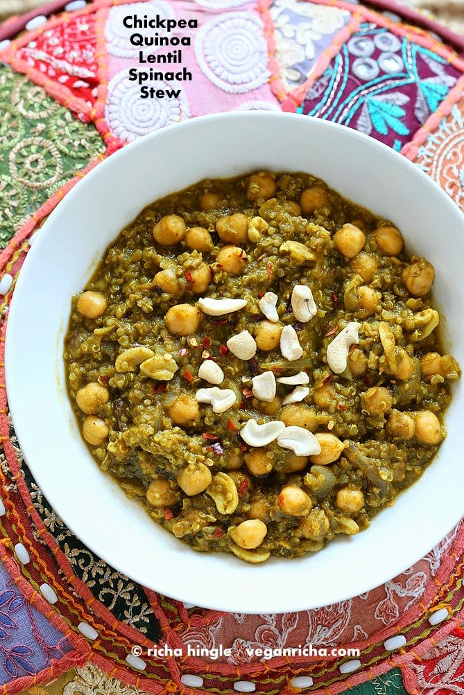 Amazing 1 Pot Chickpea Lentil Quinoa Spinach Stew. 30 Minute 3 protein meal. 21 Gm of Protein Per serve! Vegan Gluten-free Soy-free, Can be nut-free. Instant Pot option #veganricha | VeganRicha.com
