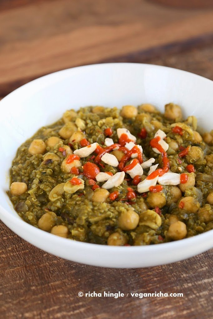 Amazing 1 Pot Chickpea Lentil Quinoa Spinach Stew. 30 Minute 3 protein meal. 21 Gm of Protein Per serve! Vegan Gluten-free Soy-free, Can be nut-free. Instant Pot option