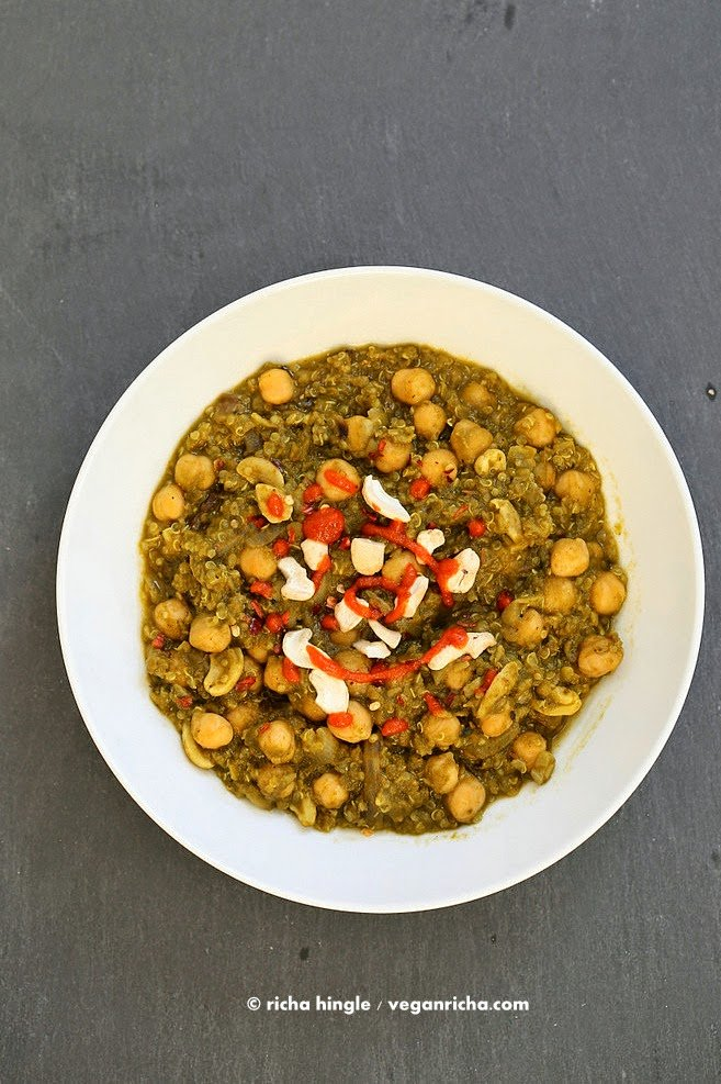 Amazing 1 Pot Chickpea Lentil Quinoa Spinach Stew. 30 Minute 3 protein meal. 21 Gm of Protein Per serve! Vegan Gluten-free Soy-free, Can be nut-free. Instant Pot option #veganricha