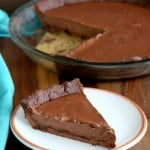 This silky smooth Dark Chocolate silk Pie with Chocolate almond Crust is surely going to be crowd pleaser. Free of Dairy, egg, corn, soy, gluten. Can be made corn-free with a different starch such as arrowroot or tapioca. #vegan #glutenfree #veganricha