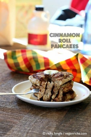 These Vegan Cinnamon Roll Pancakes use my multi-grain Pancake mix. Delicious breakfast with With swirls of cinnamon sugar. soy-free, vegan recipe