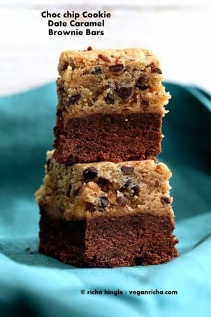 Chocolate Chip Cookie Date Caramel Brownie Bars. Vegan Recipe
