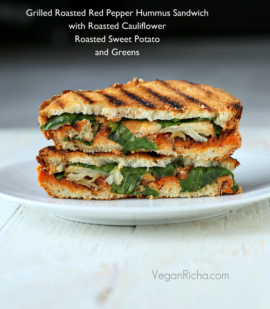 Roasted Red Pepper Hummus Sandwich With Roasted