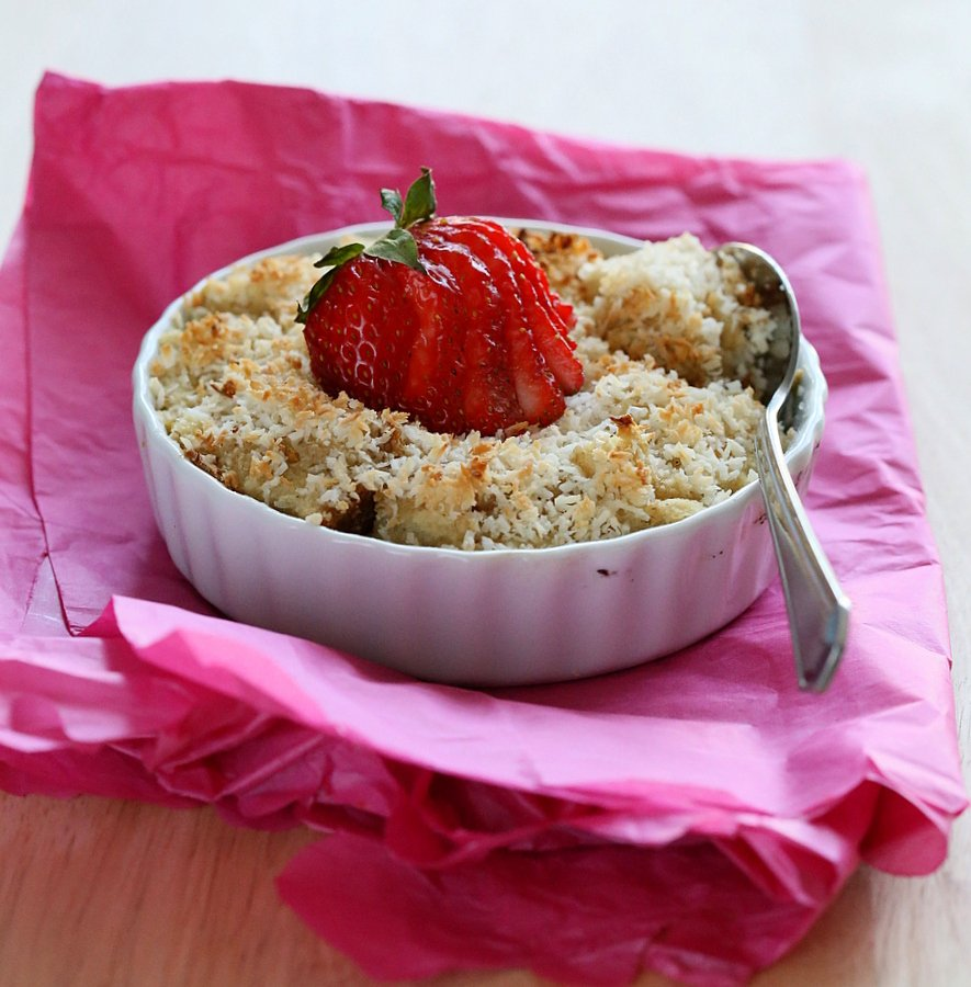 Vegan Baked Coconut Crusted French Toast. Oil-free